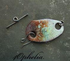 enamel bracelet clasp orange blue glaze glass lampwork jewelry supplies 1pc 4ophelia