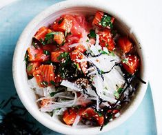 Part-chirashizushi, part-poke bowl, this recipe combines the goodness of raw fish with the crunch of daikon, and the more-ish-ness of sushi rice. An excellent rice bowl come lunch or dinner. Raw Fish Recipes, Quick Pasta Recipes, Sardine Recipes, Trout Recipes, Fig Recipes, Seafood Recipes, Daikon Recipe, Smoked Trout Salad, Fennel Salad