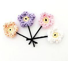 Crochet Flower Hair Pins / Crochet Hair pins  Set of by CasaDeGato, $11.50