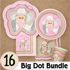 Cutest Cowgirl Baby Shower Tableware.  Visit us at http://www.modern-baby-shower-ideas.com/western-baby-shower.html Use coupon code: Modern11 and save 11%