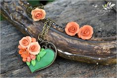 peachy roses from polymer clay by Zubiju
