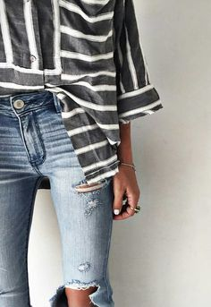 Striped button up and light jeans