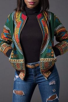 Looking for Wancy Women's Long Sleeve Floral African Dashiki Zip Biker Bomber Jackets Coat ? Check out our picks for the Wancy Women's Long Sleeve Floral African Dashiki Zip Biker Bomber Jackets Coat from the popular stores - all in one. African Dashiki, African Wear, African Attire, African Women, African Dress, African Style, African Inspired Fashion, African Print Fashion, Africa Fashion