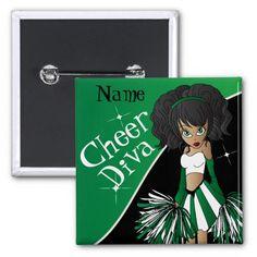 #SOLD  #Cheer #Diva #Green #Cheerleader Girl Pinback #Button #zazzlebesties #zazzle #shopping #trendy