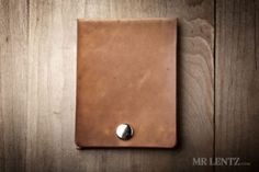 brown leather crad wallet with snap