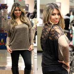 Perfect winter fashion Sweater Quarter Sleeve Knit Top in Brown/Black - Andreas Boutique #ootd #ootn #blog