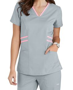 Grey's Anatomy Marquis Contrast Trim V-neck Scrub Tops Vet Scrubs, Doctor Scrubs, Medical Scrubs, Nursing Scrubs, Spa Uniform, Scrubs Uniform, Landau Scrubs, Stylish Scrubs, Work Uniforms