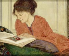 The Manuscript (c.1921). Francis Ernest Jackson (English, 1872-1945). Egg tempera on panel. Ashmolean Museum. Dorothy Hutton (1889-1984) studied at the Central School of Arts and Crafts under Jackson. She painted flowers but was also an illustrator...