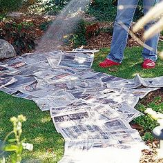 This works. Place newspaper (non-glossy) under a mulch in flower beds, even when starting a new vegetable garden bed. Deters weeds or grass and breaks down over time into the soil. Lawn And Garden, Garden Beds, Garden Art, Garden Whimsy, Garden Junk, Diy Garden, Upcycled Garden, Garden Shade, Rain Garden Design
