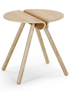 The Pitch Side Table in Ash. Sleek, unique, and with angled leg rounded at the feet for a Scandi inspired design.
