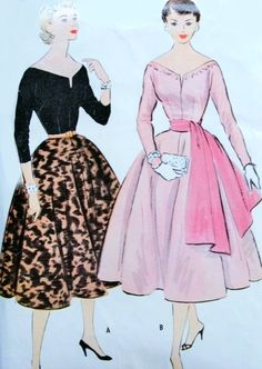 1950s Stunning Separates Pattern McCalls 9958 Wide Slit Neckline Bodice, Full Skirt and Sash Day or Evening Styles Bust 34 Vintage Sewing Pattern