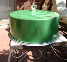 Vintage Metal Green Cake Carrier, Saver with Glass Knob