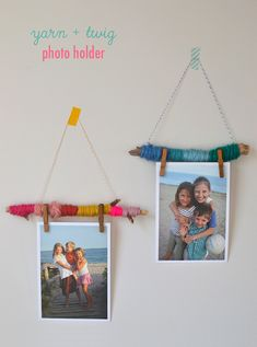 Make easy photo holders to hang on your wall with yarn and twigs. Make easy photo holders to hang on your wall with yarn and twigs. Recycled Art Projects, Projects For Kids, Diy For Kids, Craft Projects, Crafts For Kids, Crafts With Recycled Materials, Weaving Projects, Yarn Crafts, Paper Crafts