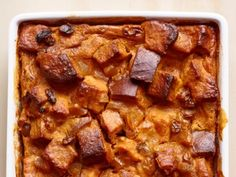 Pumpkin-Ginger Bread Pudding - Sounds yummy, but I'm thinking it would be just as good using a can of pumpkin instead of roasting then pureeing one. To me, it would also be a time saver for this recipe.