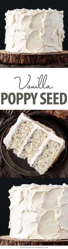 Poppy Seed Cake - poppy seed studded cake w/ vanilla bean frosting & poppy seed filling Cupcake Recipes, Baking Recipes, Dessert Recipes, Healthy Cake Recipes, Healthy Foods, Dinner Recipes, Cupcakes, Cupcake Cakes, Cake Icing