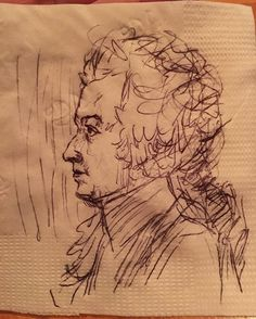 A Medium Sized Mozart on A Flower Stamped Napkin, after a drawing by Doris Stock. #artist #art #mozart #artistoninstagram #napkinart #draw #drawing #sketch #sketches #mozartandme