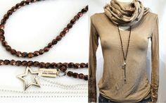 2x Ketten, Y-Kette, braune Glasperlen & zierliche Metallperlchenkette silber