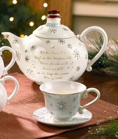 Christmas teapot and tea cup.