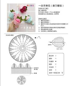 微博 - Her Crochet Crochet Doily Diagram, Crochet Flower Tutorial, Crochet Flower Patterns, Crochet Chart, Crochet Motif, Crochet Flowers, Knitting Patterns, Kawaii Crochet, Crochet Dolls
