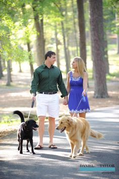 Engagement photos with the dogs in Tannehill State Park (Daniel Taylor Photography)