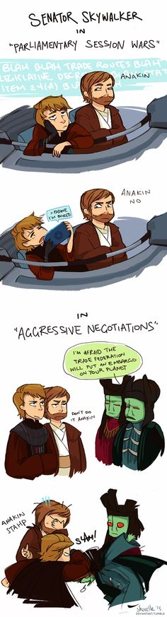 """ANAKIN STAHP"" basically their entire relationship... << this is still my phone wallpaper."