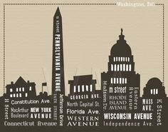 11 x 14 Washington DC Skyline & Streets Word Art by WordMarket, $24.00