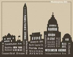 11 x 14 Washington DC Skyline & Streets Word Art by WordMarket, $24.00
