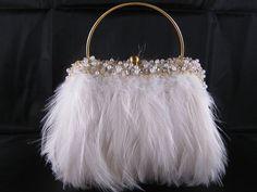 New Moo Roo Mary Norton Evening Bag Feathers Ivory White Beaded Trim Wedding Ebay