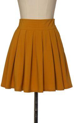 Camel Pleat Mini Skirt