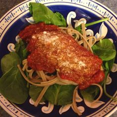 Chicken marinara with Parmesan over wheat fettuccine and spinach - from Eating for Life by Bill Phillips - Body for Life