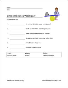 Simple Machines Wordsearch, Crossword Puzzle, and More: Simple Machines Vocabulary Science Worksheets, Vocabulary Worksheets, Science Resources, Science Lessons, Science Ideas, Science Experiments, Science Classroom, Teaching Science, Science Education