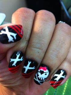 My nails for the kiddos pirate party (pirate girl)