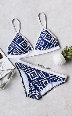 Blue Geometric Print Triangle Bikini Set