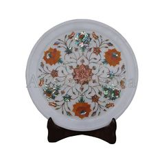White Marble Inlay Wall Plate Inlaid With Semi Precious Gemstones With Floral Inlay Art Work Pietra Dura Indian Artisan Inlay Craftsmanship Green Marble, White Marble, Marble Wall, Pen Holders, Wall Plaques, Semi Precious Gemstones, Plates On Wall, Traditional Art, Art Work
