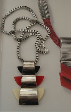 A very striking unique art deco necklace red ivory black bakelite/ galalith super geometric/modernist shape in the style of jakob bengel and similiar european deco jewellery from the period looks truly great on - see pics lovely vivid colours.
