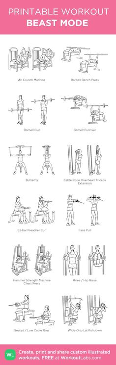 Gym Workout  my custom printable workout by @WorkoutLabs - beast workout sheet