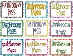 Printable Bathroom Pass Print Now Pinterest Bathroom Pass
