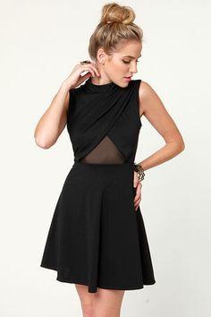 Little Black Dress - Backless Dress - Turtleneck Dress - $37.50