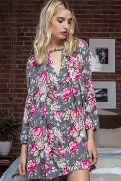 PAOLA Floral Print Casual Dress