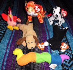 Lot of 6 Ty BEANIE BABIES Teenie Zodiac Jingle 1993-2002 Bones Strut Dizzy Zip+ #Ty