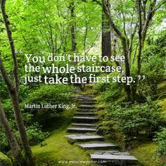 You don't have to see the whole staircase, just take the first step. - Martin Luther King, Jr.  #quote