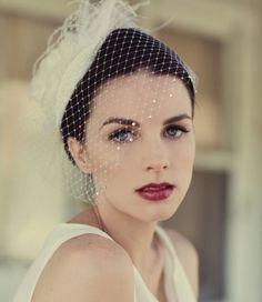 Ivory or White Birdcage Veil, Ivory Feather Fascinator, Bridal Veil, Birdcage Veil, Silk Rose Wedding Hat, High Fashion Wedding Trends 2014,...