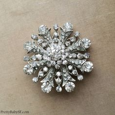 Winter jewelry Winter Wedding Snowflake brooch by PrettyBabyBridal