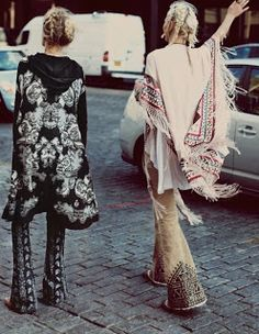 love bottom of bell bottoms and love blk & wh kimono Vintage fashion