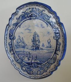 blue transfer ware platter with sailing ship