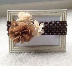 Natural Burlap Flower with Pearl Center & Tan Burlap Flower Clip w/ Br – IttieBittieBaby