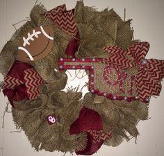 Oklahoma University Burlap Wreath!