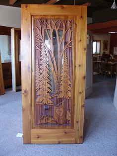 Cedar door with glass insert & sandcarved design (both sides - 2 thick). Cool Doors, Unique Doors, Rustic Doors, Wooden Doors, Wood Glass, Glass Door, Entrance Doors, Front Doors, Cedar Door