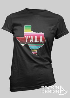Texas Y'all serape print cowboy boots graphic tee by RockinAdesign