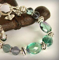 Fluorite Bracelet  Bi Color Stones and by jQjewelrydesigns on Etsy, $139.00